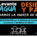 El Circulo del Agua se manifiesta mañana en Madrid demandando agua e infraestructuras hidráulicas para el Levante
