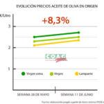 El aceite de oliva repunta un 8,3% en las últimas dos semanas